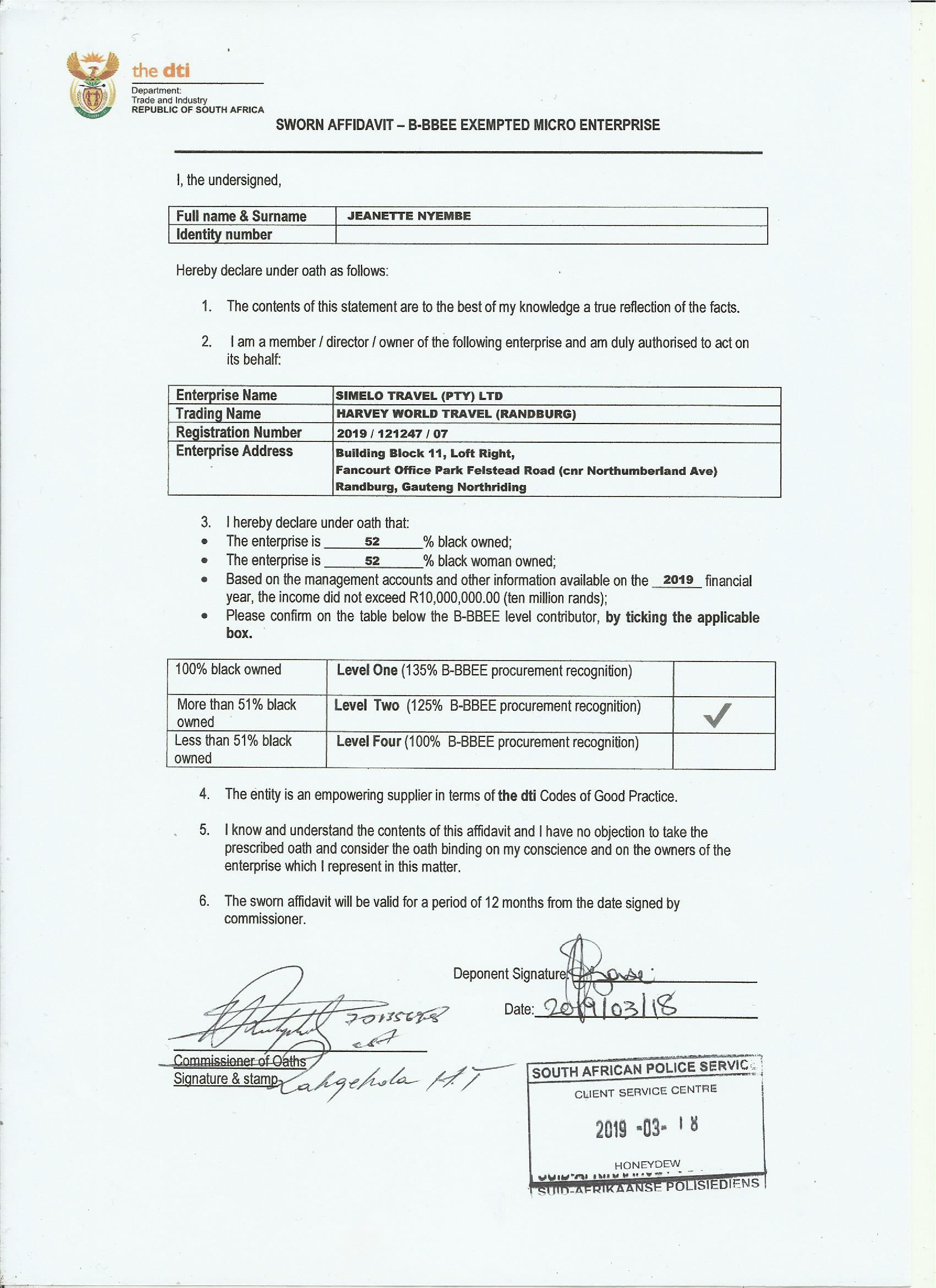 BBE Certificate